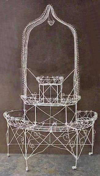 2035: PAINTED FRENCH  WIRE TIERED PLANT STAND
