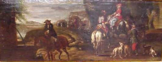 2123: 17/18THC FRENCH HUNTING SCENE,OIL ON PANEL