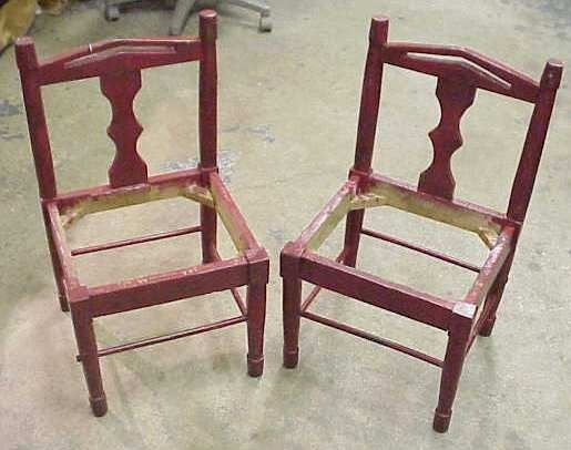 2008: PAIR RED PAINTED CHILDREN'S CHAIRS & HIGHCHAIR
