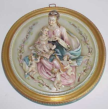 34: BORSATO PORCELAIN RELIEF PLAQUE, MADONNA AND CHILD,