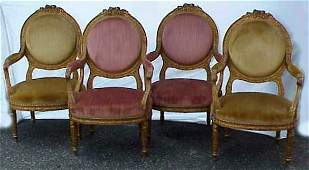 101 FOUR LOUIS XVI STYLE GILTWOOD ARMCHAIRS OVAL BACK