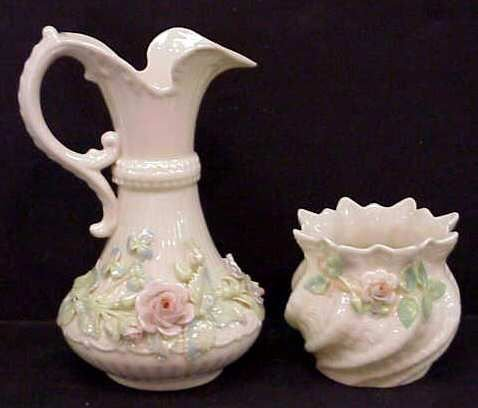 4: BELLEEK OPEN SUGAR BOWL & CREAMER W/ROSE DECORATION