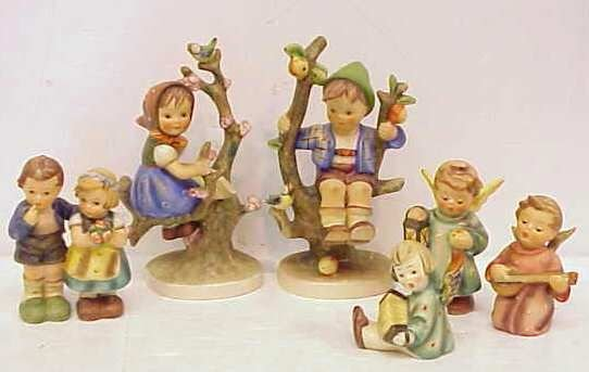 12A: 6 HUMMEL / GOEBEL FIGURES,3 ANGELS,COUPLE & 2 KIDS