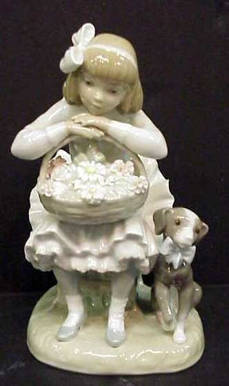 16A: LLADRO GIRL SEATED WITH FLOWERS & DOG