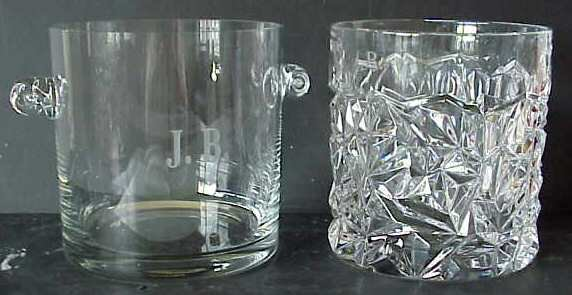 1002: 2 CRYSTAL CHAMPAGNE COOLERS, BOTH MONOGRAMED, 1 S