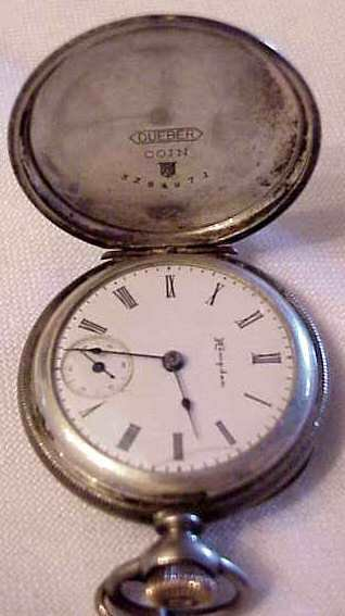 1016: HAMPDEN COIN SILVER POCKET WATCH, MARKED DUBER IN