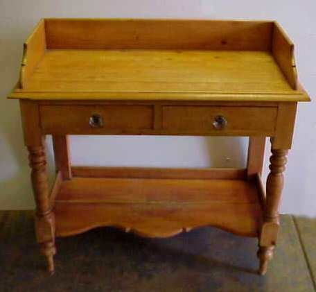 """1014A: 19THC PINE TWO DRAWER WASH STAND, 33 1/4""""H X 35"""