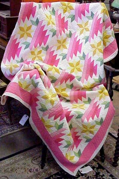 1010A: HANDMADE QUILT, STAR WITH THE LOG CABIN PATTERN