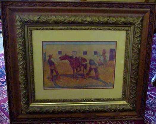 "2022: REMINGTON PRINT, DATED 1908, VICTORIAN FRAME 10"""