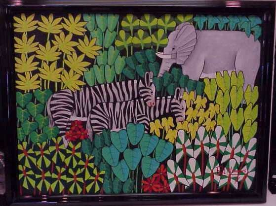 """2023: HAITIAN JUNGLE WITH ANIMALS, OIL ON CANVAS, 18"""" X"""