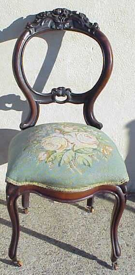 2022A: VICTORIAN SIDE CHAIR WITH NEEDLEPOINT SEAT