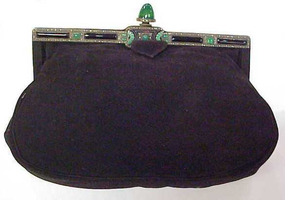 31: ART DECO BLACK SUEDE CLUTCH WITH MARCASITE, GREEN E