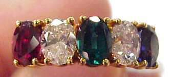 110 TIFFANY 18KT GOLD RING 2 DIAMONDS 1 SAPPHIRE 1
