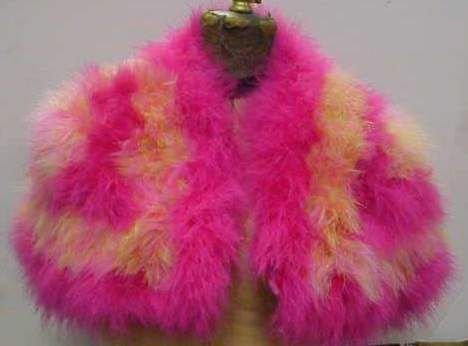 4006: EMILY WETHERBY PINK & YELLOW FEATHER CAPELET