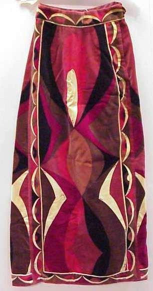 4035: 60'S PUCCI PRINTED VELVET LONG SKIRT, SHADES OF