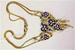 4040 MAZER BROS ENAMEL AND RHINESTONE GILT METAL NECK