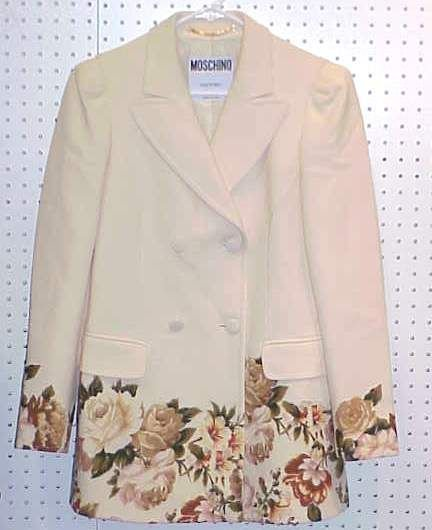 4043: MOSCHINO COUTURE IVORY WOOL FLORAL PRINTED JACKET