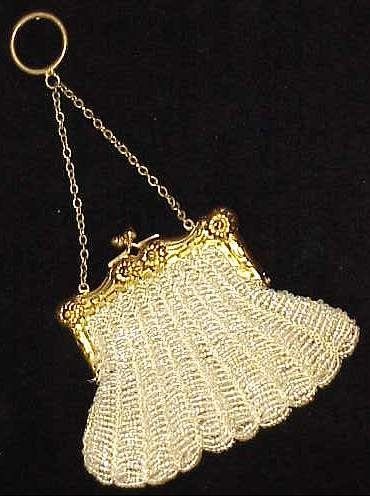 4044A: GERMAN SILVER & BEADED COIN PURSE, OPALESCENT BE