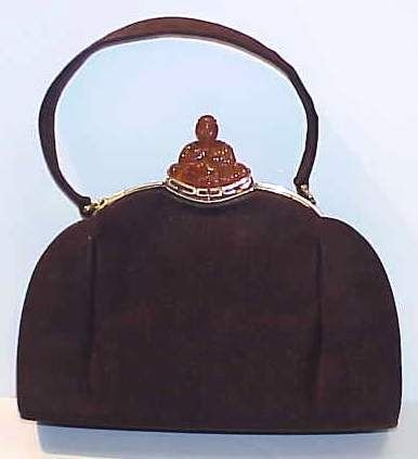 4036A: ART DECO BROWN SUEDE PURSE WITH PLASTIC BUDDHA C