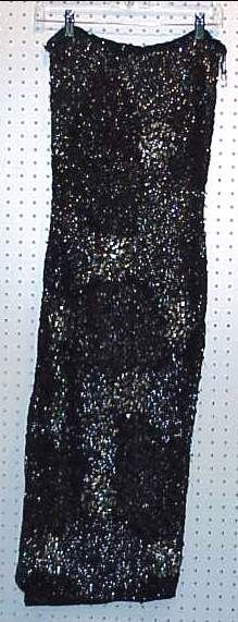 4045A: STRAPLESS BLACK AND SILVER SEQUINED TUBE DRESS,