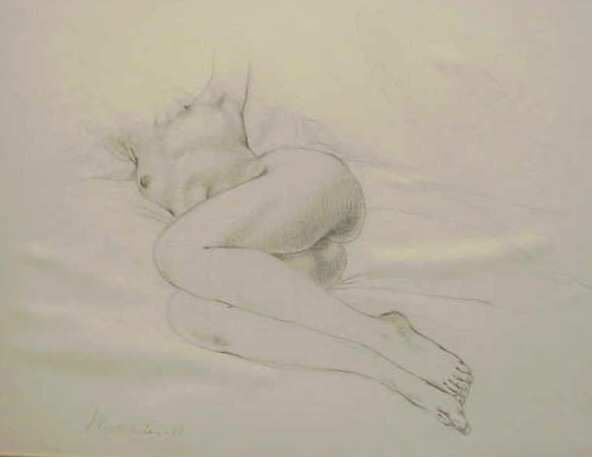 26: PENCIL DRAWING OF RECLINING NUDE WOMAN,SIGNED MORAL