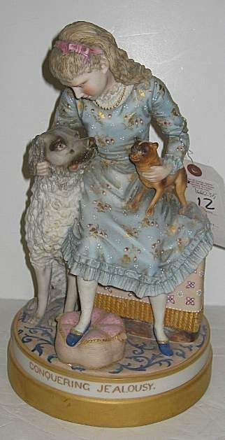 12: PAINTED PARIAN FIGURAL GROUP OF A GIRL & TWO DOGS