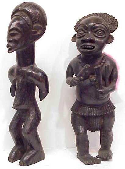 6A: WEST AFRICAN BRONZE FIGURE & CAMEROON WOOD FIGURE