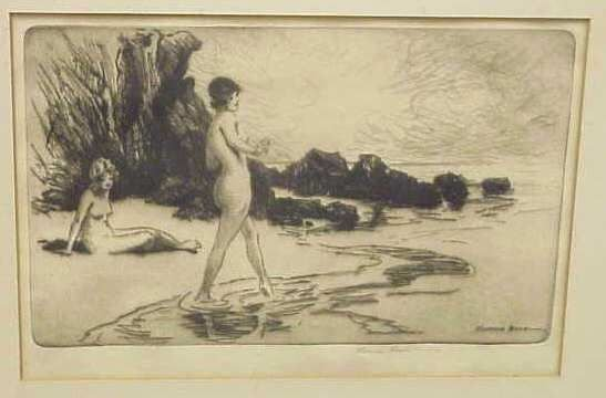 291: TWO NUDES ON BEACH( ETCHING) & TWO NUDE WOMEN - 2