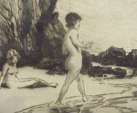 291: TWO NUDES ON BEACH( ETCHING) & TWO NUDE WOMEN - 3