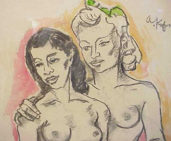 291: TWO NUDES ON BEACH( ETCHING) & TWO NUDE WOMEN - 4