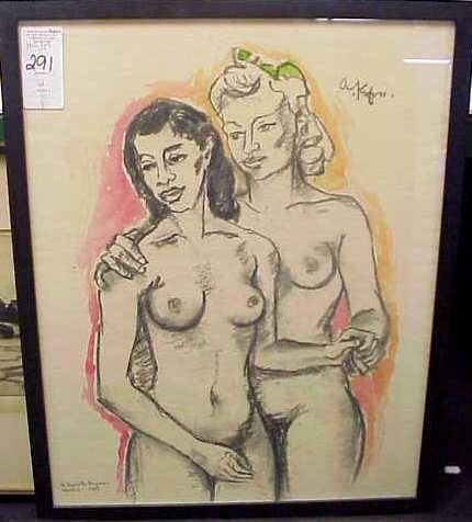 291: TWO NUDES ON BEACH( ETCHING) & TWO NUDE WOMEN - 5