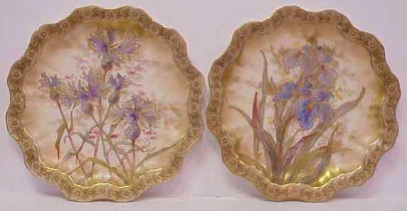 1023: PR DOULTON BURSLEM FLORAL DECORATED PLATES, HAND