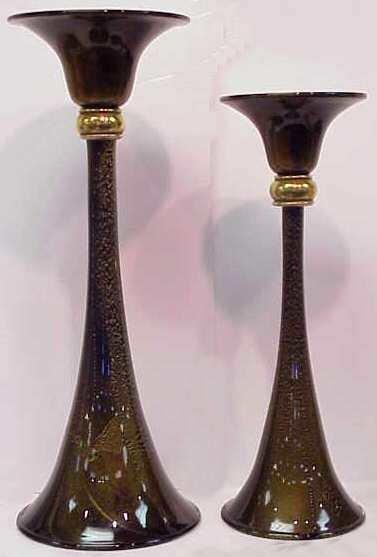 1027: TWO ART GLASS CRANBERRY & GILT CANDLEHOLDERS, 20