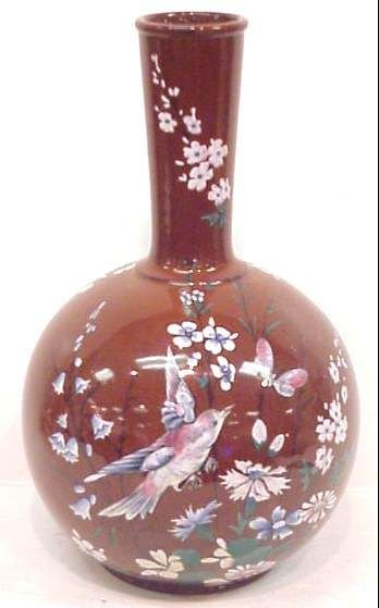 1023A: VICTORIAN PORCELAIN VASE PAINTED WITH BIRDS & TR