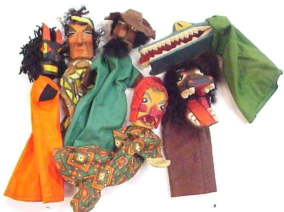 1018: 6 FIGURAL HAND PUPPETS, 4 FIGURES & 2 ANIMALS, PA