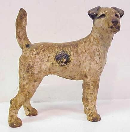 1005: TERRIER PAINTED CAST IRON DOORSTOP, EARLY 20THC