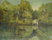 2116: LATE 19TH C LAKE SHORE WATERCOLOR, SIGNED AND GIF