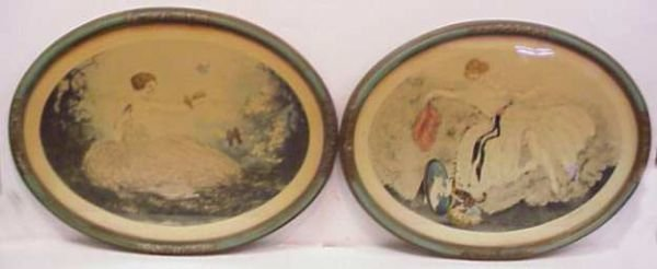 2022: PAIR OF OVAL PORTRAITS OF WOMEN, COLORED ETCHINGS