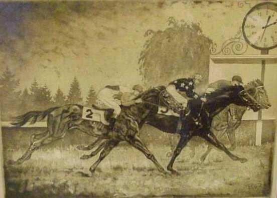 2012: HORSE RACE, COPPER ENGRAVING, PENCIL SIGNED GUY K