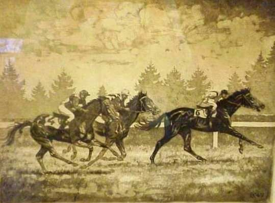 2013: HORSE RACE, COPPER ENGRAVING, PENCIL SIGNED GUY K