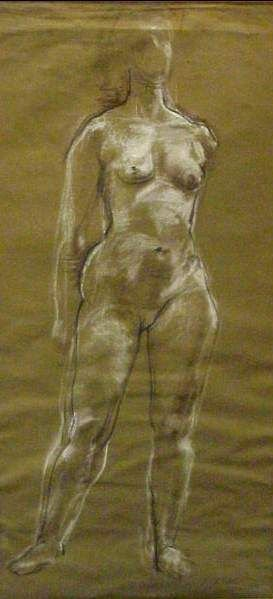 2027: FRANTA BELSKY (20THC)PORTRAIT OF NUDE,WHITE CHALK