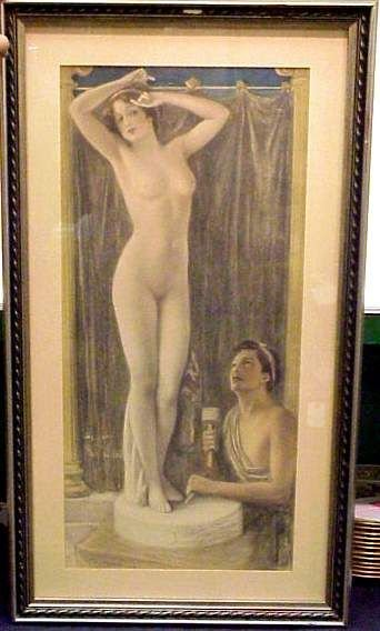 2014: ARCHIE GUNN(1863-1930)HAND COLORED PRINT,NUDE STA