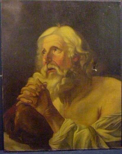 2052: 18THC OLD MASTER PORTRAIT OF AN OLD MAN PRAYING