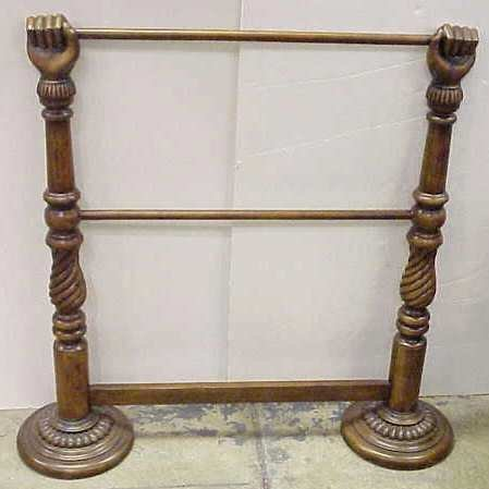"""14: CARVED 'HANDS' WOOD QUILT RACK, NOT OLD, 37"""" H X 31"""