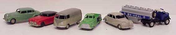 14A: 6 VINTAGE TOY CARS, ALL PAINTED METAL: 4 MARKLIN,