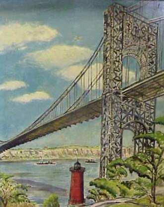 16: VIEW OF THE GEORGE WASHINGTON BRIDGE, OIL ON BOARD,