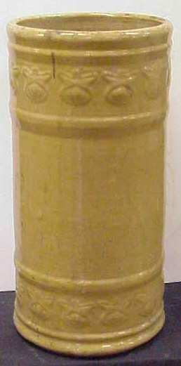 """22: POTTERY UMBRELLA STAND, NO CHIPS OR CRACKS, 19 1/2"""""""