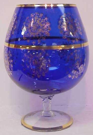 "26: ITALIAN COBALT GLASS OVERSIZED ""SNIFTER"" WITH GILT"