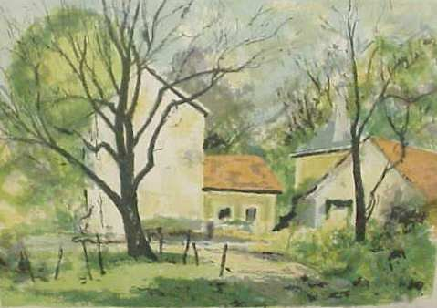 33: COLOR LITHOGRAPH OF HOUSES, SIGNED DAVID BERGER LOW