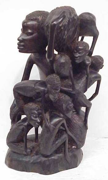 """15A: AFRICAN CARVED WOOD FIGURAL  GROUP, 12 1/4""""H"""